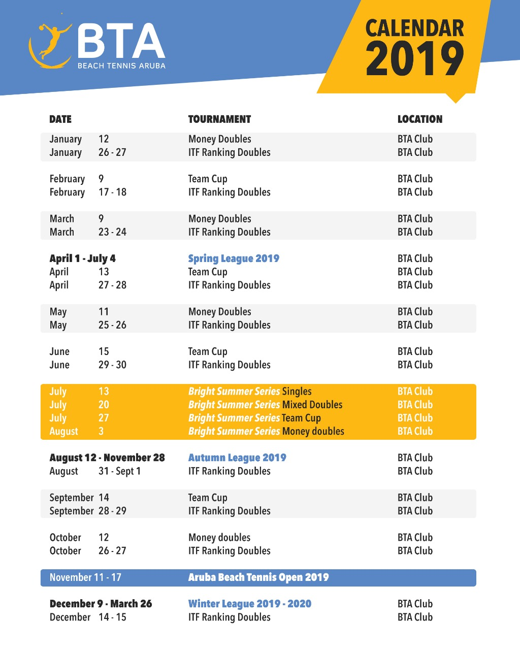 BTA Tournament Calendar 2019