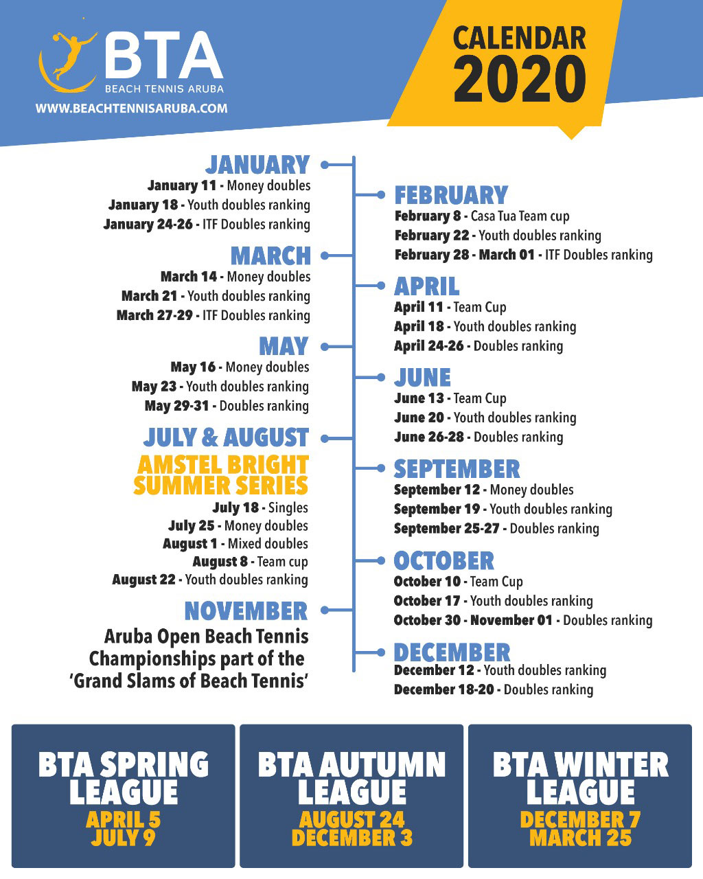 BTA Tournament Calendar 2020