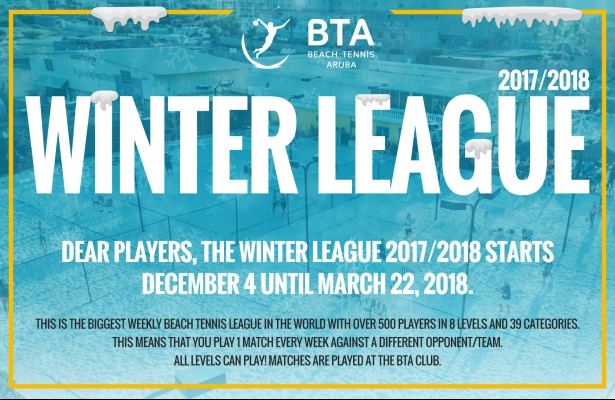 SCHEDULES WINTER LEAGUE 2017-2018 ARE ONLINE!