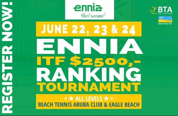 Ennia ITF $ 2500.-  ranking tournament, June 22-24.